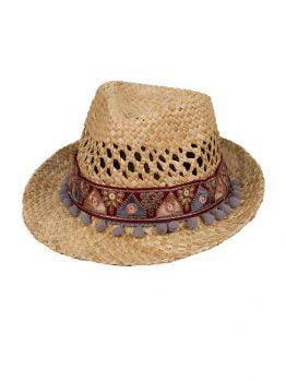 Sombrero de playa con cenefa étnica 08 y madroños grises